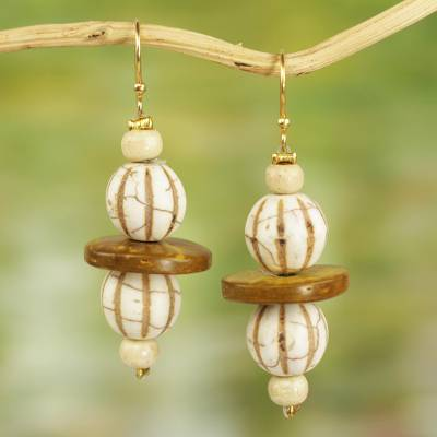 Wood and recycled glass dangle earrings, 'Village Breeze' - Recycled Glass and Sese Wood Dangle Earrings from Ghana