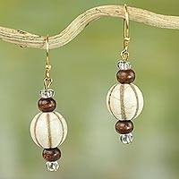 Wood and glass dangle earrings, 'Xoexe'