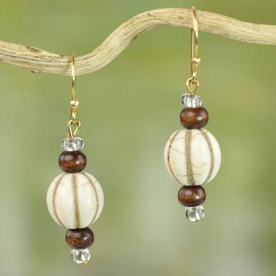 Wood and glass dangle earrings, 'Xoexe' - Handmade Dangle Earrings of Natural Wood and Recycled Glass