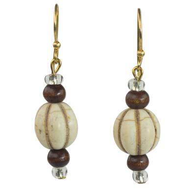 Wood and glass dangle earrings, 'Xoexe' - Handmade Dangle Earrings of Natural Wood and Recycled Glass