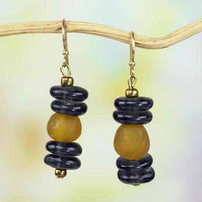 Recycled glass bead dangle earrings, 'Unforgettable Love' - Recycled Glass Bead Dangle Earrings by Ghanaian Artisans