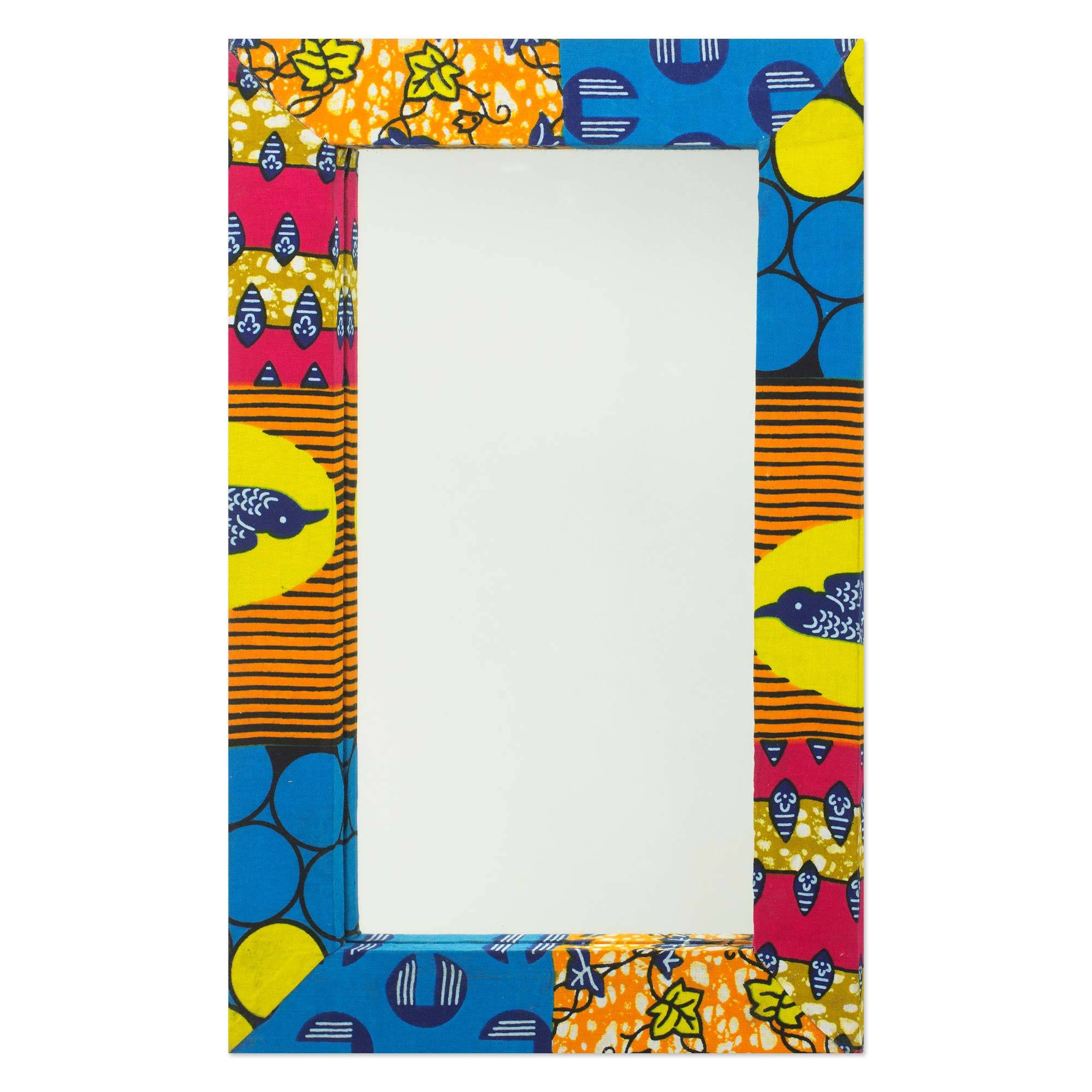 Wall mirror with brightly printed fabric frame from ghana wall mirror with brightly printed fabric frame from ghana asasaawa novica amipublicfo Images