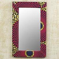 Cotton and wood wall mirror, 'Cerise Daakye' - Cotton and Sese Wood Mirror in Deep Rose and Gold from Ghana