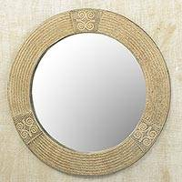 Featured review for Wood wall mirror, Round Adiram