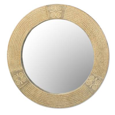 Wood wall mirror, 'Round Adiram' - Hand Crafted Sese Wood Round Adinkra Wall Mirror from Ghana