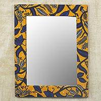 Cotton and wood wall mirror, 'Lapis Vines' - Ghanaian Cotton and Sese Wood Mirror in Daffodil and Lapis