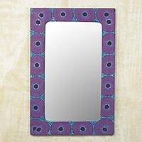 Cotton and wood wall mirror, 'Violet Destiny' - Cotton and Sese Wood Mirror in Violet and Indigo from Ghana