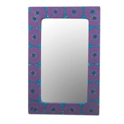 Cotton and Sese Wood Mirror in Violet and Indigo from Ghana