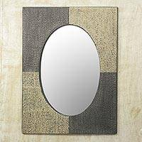 Wood and metal wall mirror, 'Oval Quadrants' - Artisan Crafted Aluminum and Wood Wall Mirror from Ghana