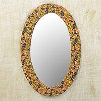 Cotton and wood wall mirror, 'Sunrise Flowers' - Cotton and Sese Wood Multicolored Floral Mirror from Ghana