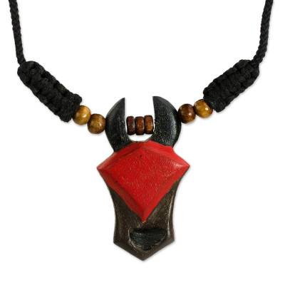Wood pendant necklace, 'Anokye' - Hand Painted Wood Bead Necklace with Pendant from Ghana