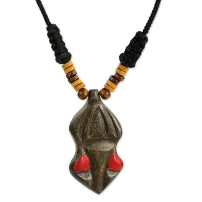 Hand Carved Wooden Pendant and Cord Necklace from Ghana