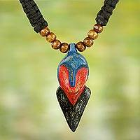 Wood pendant necklace, 'African Whale'