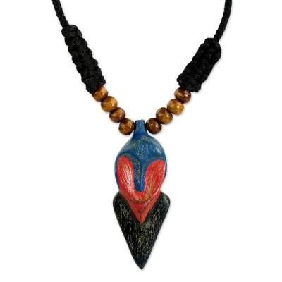 Wood pendant necklace, 'African Whale' - Adjustable Sese Wood Pendant Necklace from Ghana