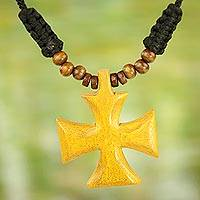 Wood pendant necklace, 'Cross of Divinity'