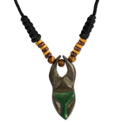 Wood pendant necklace, 'Ashanti Ruler' - Adjustable Sese Wood Pendant Necklace from Ghana