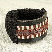 Men's leather wristband bracelet, 'Hausa Da'u' - Hand Made Hausa Warrior Leather Wristband Bracelet for Men