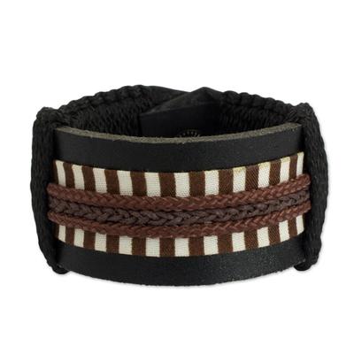 Men's leather wristband bracelet, 'Hausa Da'u' - Hand Made Hausa Warrior Leather Wristband Bracelet for Men