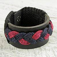 Leather wristband bracelet, 'Hajjaju Braid' - Ghanaian Leather Braided Wristband Bracelet in Black and Red
