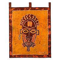 Batik wall hanging, 'Oduro Mask'