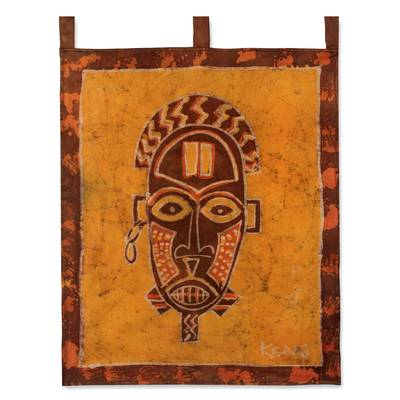 Batik wall hanging, 'Oduro Mask' - Batik wall hanging