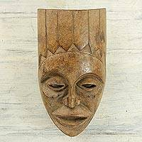 African wood mask, 'Tribal Luba' - Handcrafted Sese Wood Cultural African Mask from Ghana