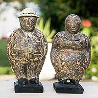 Ceramic figurines, 'Charming Couple' (pair) - Pair of Ceramic Figurines of a Man and Woman from Ghana