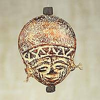 Ceramic ornament, 'Wise Elder' - Artisan Crafted Ceramic and Raffia Ornament from Ghana