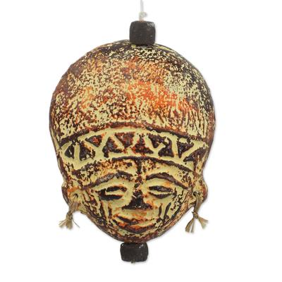 Ceramic ornament, 'Wise Elder' - Artisan Crafted Ceramic and Raffia Ornament from Ghana