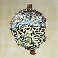Ceramic ornament, 'Wise Elder in Blue' - Artisan Crafted Blue Ceramic and Raffia Ornament from Ghana