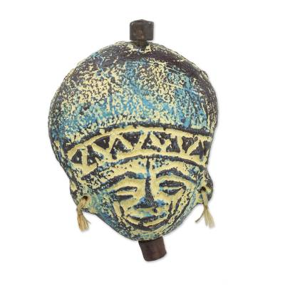 Artisan Crafted Blue Ceramic and Raffia Ornament from Ghana