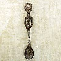 Wood wall sculpture, 'Spoon Lady' - Wood and Aluminum Wall Sculpture of a Woman with a Spoon