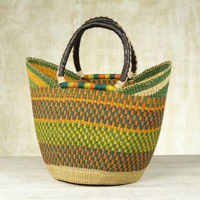 Leather accent raffia basket, 'African Colors' - Handcrafted Leather Accent Raffia Basket from Ghana