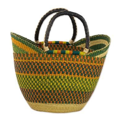 Novica Leather accented raffia tote bag, Bolga Basket
