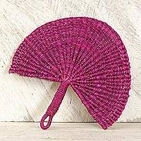 Raffia fan, 'Magenta Love' - Artisan Handcrafted Raffia Fan in Magenta from Ghana