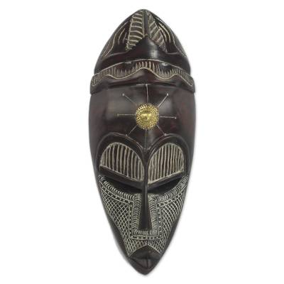 African wood mask, 'Virtuous Asomdwee' - African Sese Wood Aluminum and Brass Wall Mask from Ghana