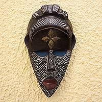 African wood mask, 'Community Asemkafo' - Colorful Ghanaian Sese Wood Aluminum and Brass African Mask