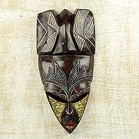 African wood mask, 'Royal Paa Naa' - Sese Wood Aluminum and Brass Wall Mask by Ghanaian Artisans