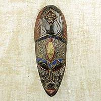 African wood mask, 'Heart of Purity' - Multicolored Sese Wood Aluminum and Brass African Mask