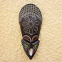 African beaded wood mask, 'Igbo Bravery'
