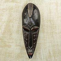 African wood mask, 'Virtuous Jideofor' - African Sese Wood and Aluminum Mask in Black from Ghana
