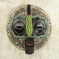 African beaded wood mask, 'Ntiase Understanding' - Sese Wood and Recycled Glass Bead African Mask from Ghana