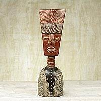 African wood sculpture, 'Fortune Mask' - Hand Crafted Ghanaian Sese Wood Mask Sculpture