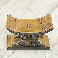 Wood mini decorative stool, 'African Comfort in Brown' - Sese Wood and Aluminum Mini Stool by Ghanaian Artisans