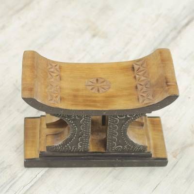 Wood mini decorative stool, 'African Legend in Brown' - Sese Wood and Aluminum Mini Decorative Stool