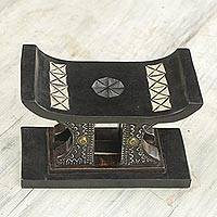 Wood mini decorative stool, 'African Legend in Black' - Wood and Aluminum Miniature Decorative Stool in Black