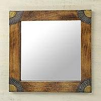 Wood wall mirror, 'Charming Image' (13 inch) - Sese Wood Aluminum and Brass Square Wall Mirror (13 In)