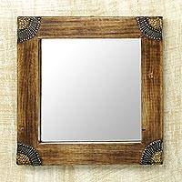 Wood wall mirror, 'Charming Image' (9 inch) - Sese Wood Aluminum and Brass Square Wall Mirror (9 In)