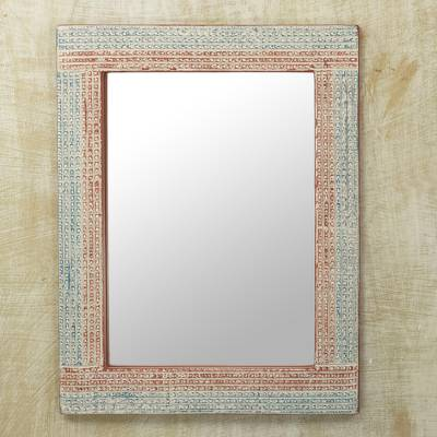 Wood wall mirror, 'Local Treasure' - Distressed Sese Wood Wall Mirror by Ghanaian Artisans