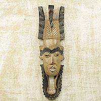 African wood mask, 'Mokolade' - Handcarved West African Sese Wood Mokolade Mask